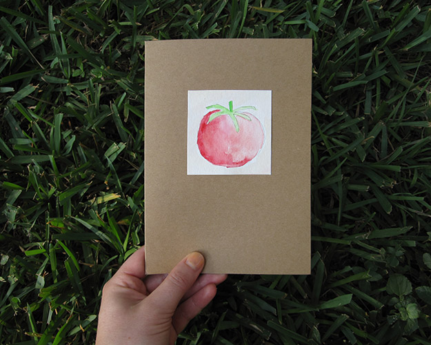 watercolor tomato card